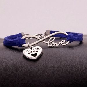 Jewelry - Pet BFF Love Infinity Blue Leather Rope Bracelet